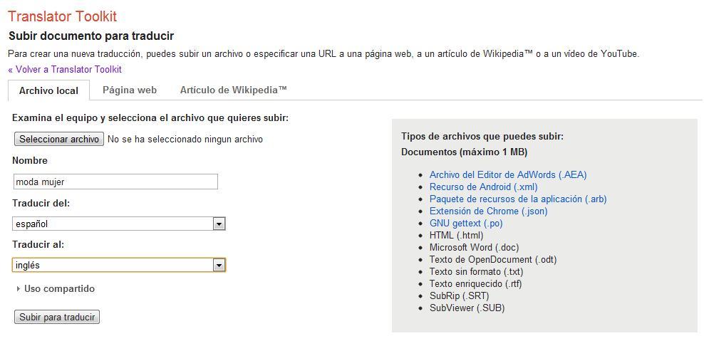 Captura de la interfaz de Google Translator Tookit
