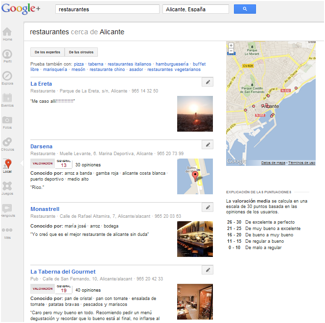 "Resultados para ""restaurantes alicante"" en Google Plus Local"