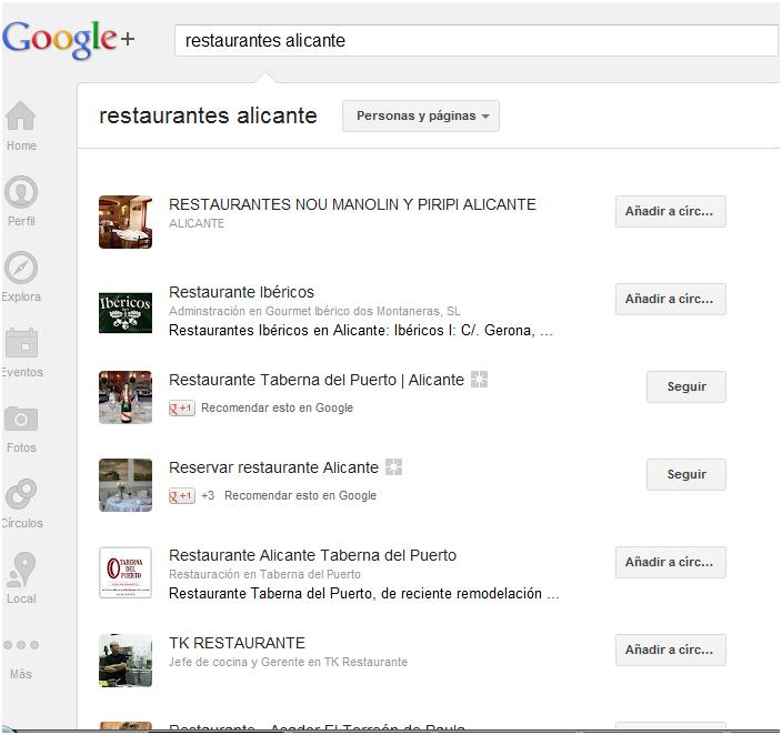 Página de resultados en Google Plus