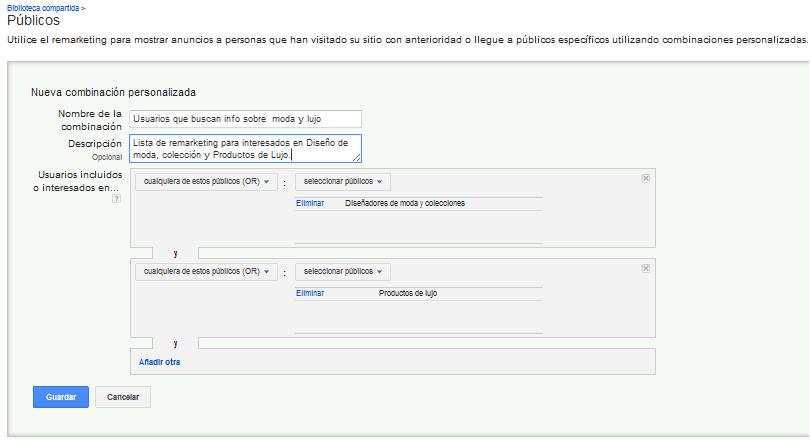 Crear una lista de remarketing con la Combinación Personalizada