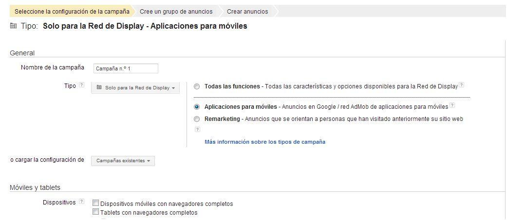 Configurar una campaña de Admob de Google