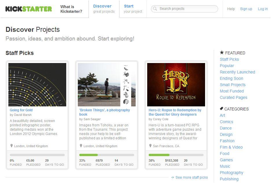 Kickstarter: la web de colaboración más popular en EEUU