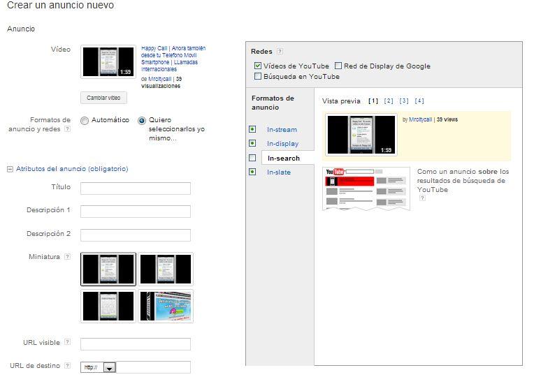 Publicidad en youtube desde Adwords: crear nuevo anuncio de vídeo