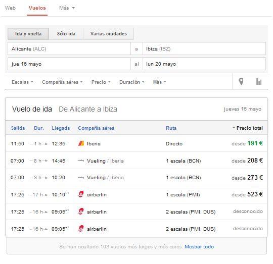Google Flight, el buscador de vuelos de Google