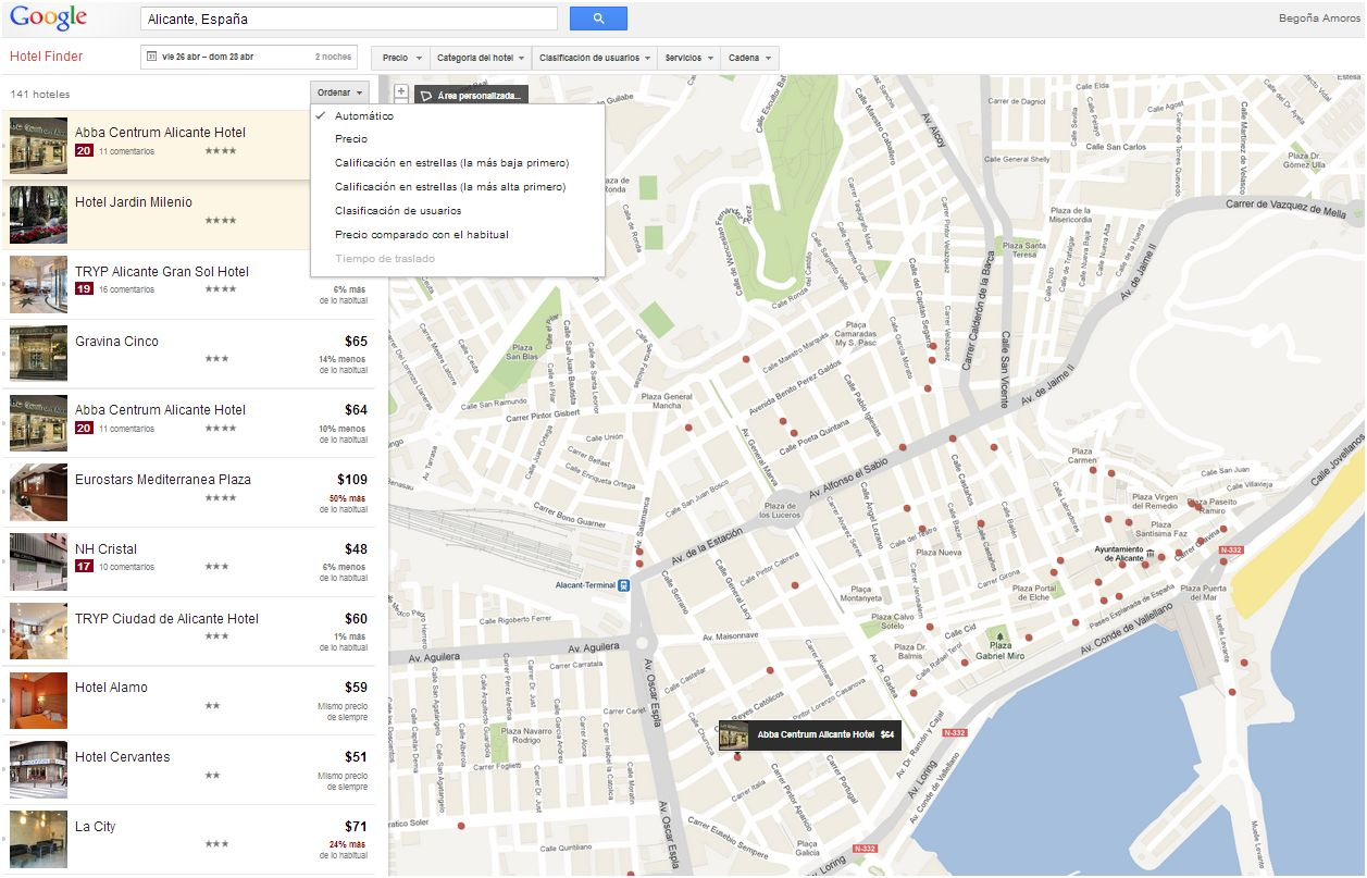 Google Hotel Finder Alicante