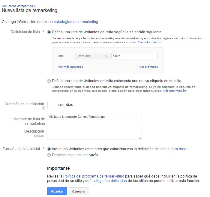 Nueva Lista de Remarketing creando con la nueva etiqueta de Remarketing