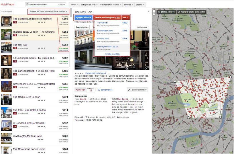 Reservas de hotel en Google Hotel Finder