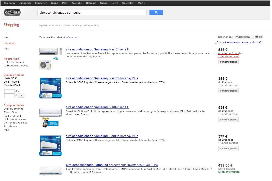 Tiendas Cercanas en Google Shopping