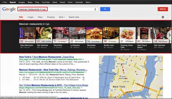 Google Local Carousel: resultados locales