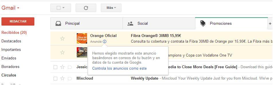 Nuevos Anuncios en Gmail