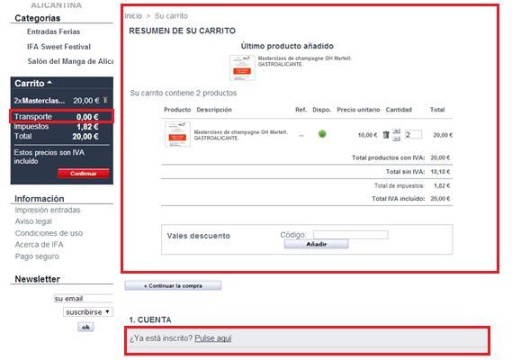 Carrito de compra online IFA
